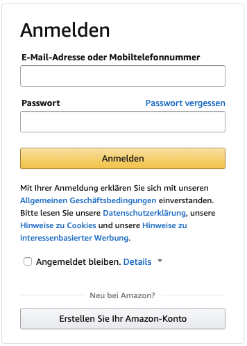Amazon-Konto-anmelden